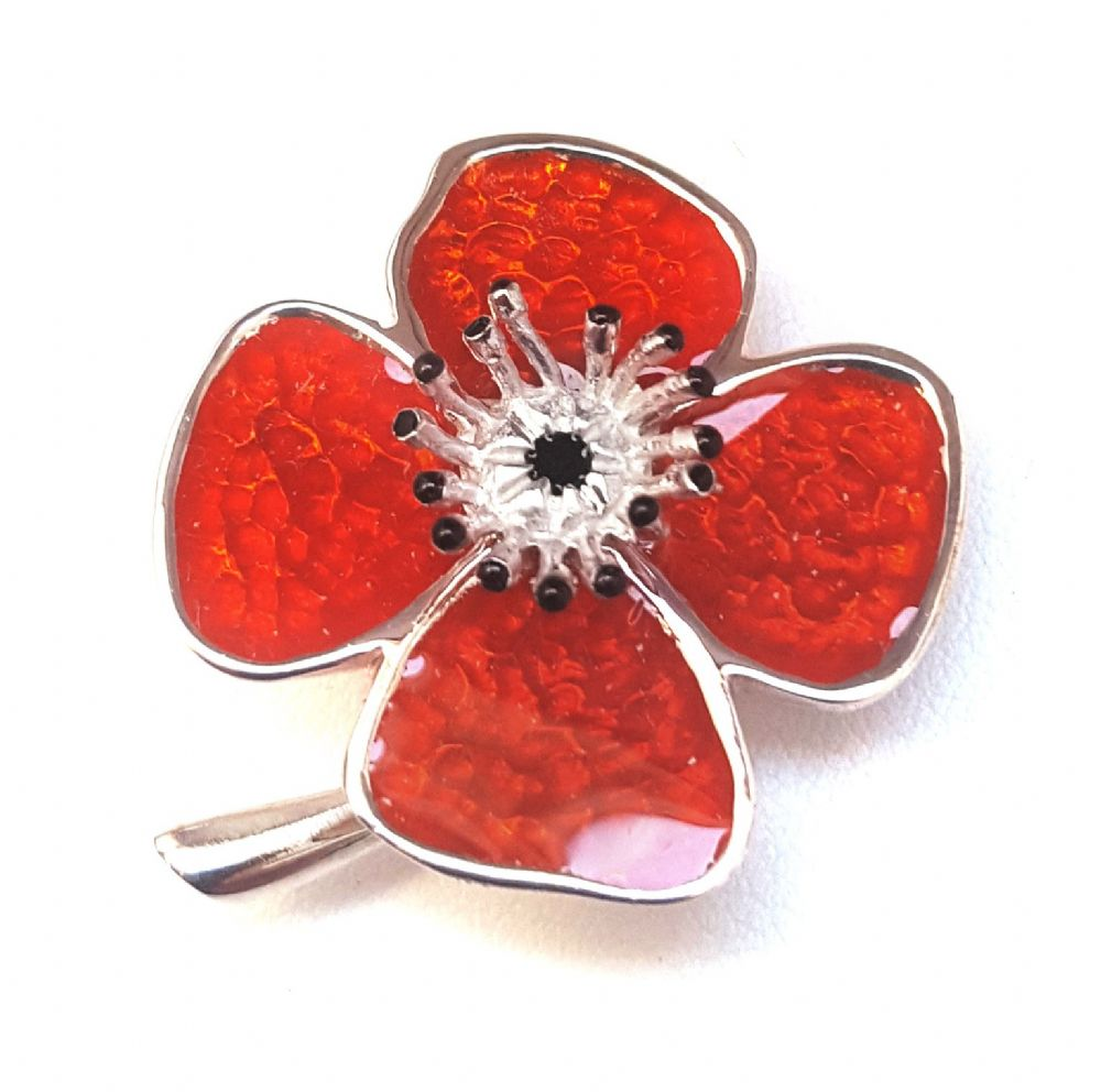 Enamel Poppy Brooch  Available in Silver Plated & 925 Sterling Silver